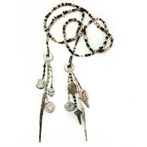 Artisan Earthy Beaded Tassel Lariat Necklace